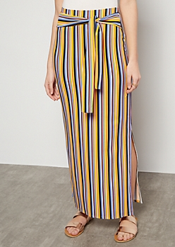 Mustard Striped Super Soft Vented Maxi Skirt