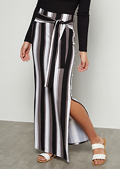 Gray Striped Super Soft Vented Maxi Skirt