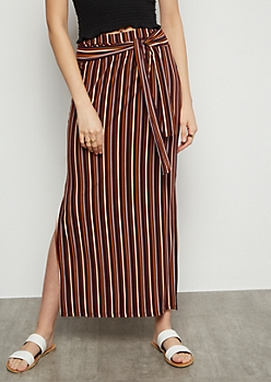 Burgundy Striped Super Soft Vented Maxi Skirt