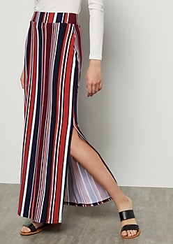 Coral Striped Side Slit Maxi Skirt