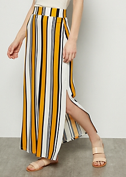 Yellow Striped Side Slit Maxi Skirt
