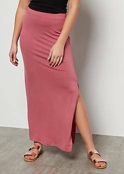 Medium Pink Side Slit Maxi Skirt