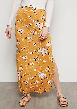 Mustard Floral Print Side Slit Maxi Skirt