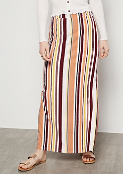 Burgundy Striped Side Slit Maxi Skirt