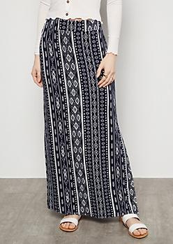 Navy Border Print Side Slit Maxi Skirt