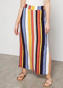 Blue Striped Side Slit Maxi Skirt