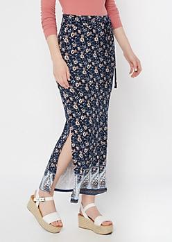 Navy Floral Print Sash Waist Super Soft Maxi Skirt