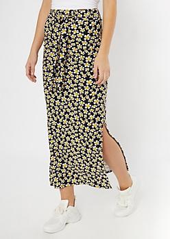 Black Daisy Print Sash Waist Super Soft Maxi Skirt