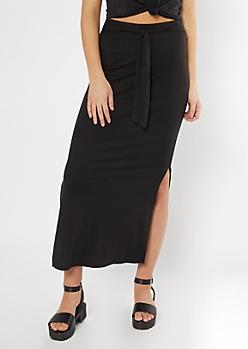 Black Ribbed Knit Sash Waist Super Soft Maxi Skirt