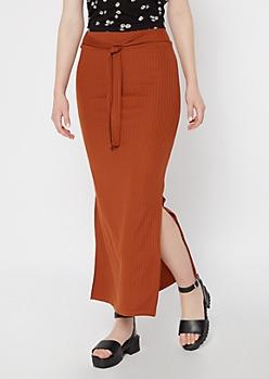 Cognac Ribbed Knit Sash Super Soft Maxi Skirt