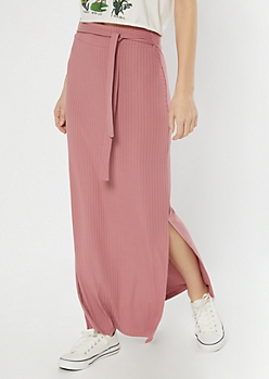Dusty Pink Ribbed Knit Sash Super Soft Maxi Skirt