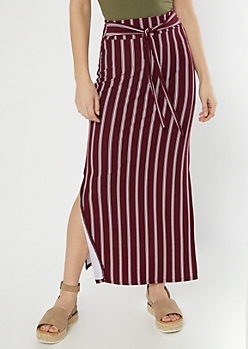Burgundy Striped Sash Waist Super Soft Maxi Skirt