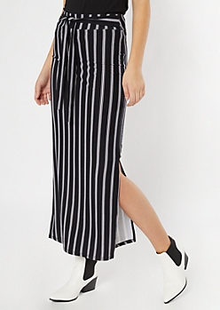 Black Striped Sash Waist Super Soft Maxi Skirt