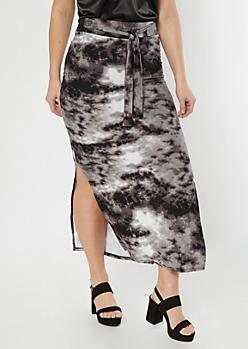 Black Tie Dye Sash Waist Super Soft Maxi Skirt
