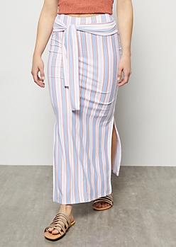 Pastel Blue Striped Super Soft Side Slit Tie Maxi Skirt