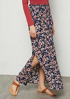 Navy Floral Print Smocked Maxi Skirt