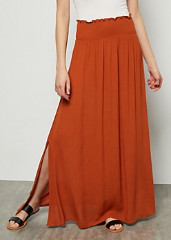 Burnt Orange Smocked Maxi Skirt