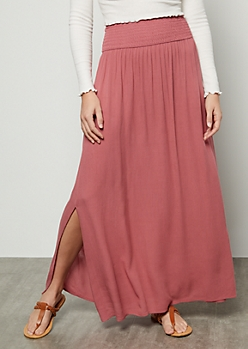 Medium Pink Smocked Maxi Skirt