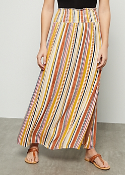 Mustard Border Print Smocked Maxi Skirt