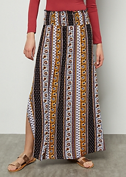 Black Border Print Smocked Maxi Skirt