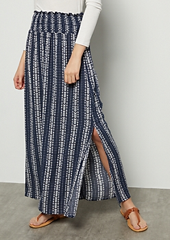 Navy Border Print Smocked Maxi Skirt