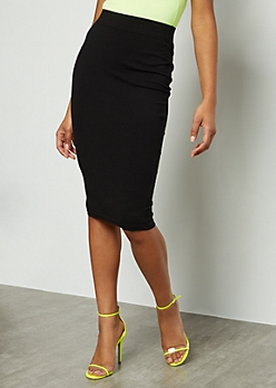Black Knee Length Essential Skirt
