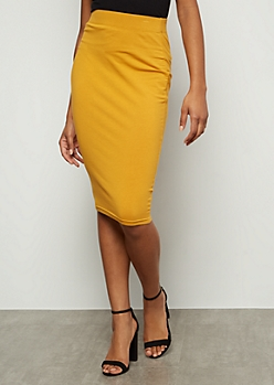 Mustard Knee Length Essential Skirt