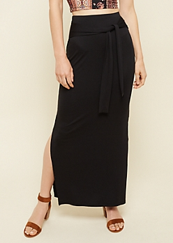 Black Tie Front Essential Maxi Skirt
