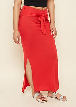 Red Tie Front Essential Maxi Skirt