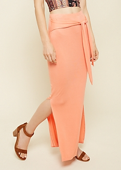 Coral Tie Front Essential Maxi Skirt