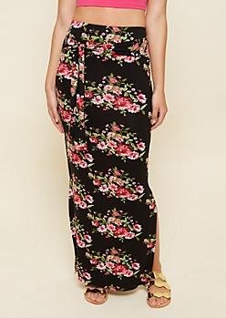 Black Floral Print Tie Front Essential Maxi Skirt