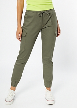 Olive Cargo Twill Joggers