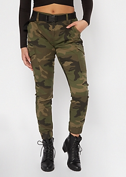 Camo Print Cargo Utility Belted Joggers