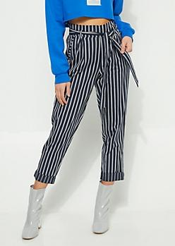 Blue Striped Elastic Waist Pants