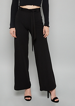 Black Belted Crepe Palazzo Pants