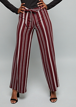 Burgundy Striped Belted Crepe Palazzo Pants