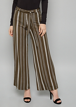 Green Striped Belted Crepe Palazzo Pants