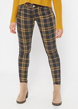 Mustard Plaid Print Mid Rise Skinny Pants