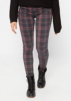 Burgundy Plaid Print Mid Rise Skinny Pants