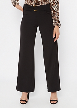 Black O Ring Waist Flare Pants