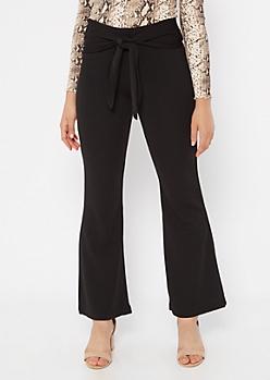 Black Tie Waist Flare Pants