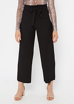 Black Pleated Tie Waist Gaucho Pants