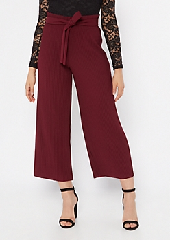 Burgundy Pleated Tie Waist Gaucho Pants