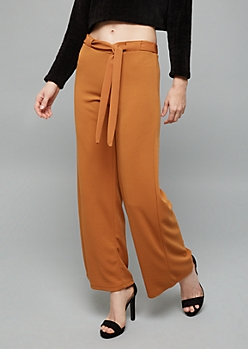 Burnt Orange Belted Crepe Wide Leg Palazzo Pants
