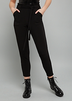 Black Crepe High Waisted Cropped Paperbag Waist Pants