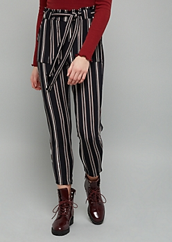 Black Striped Crepe Paperbag High Waisted Cropped Pants