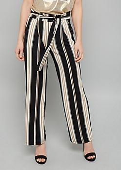 Black Striped Paperbag Belted Crepe Wide Leg Pants