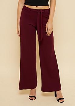 Maroon Crepe Tie Waist Palazzo Pants