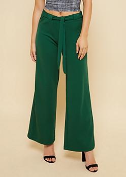Green Crepe Tie Waist Palazzo Pants
