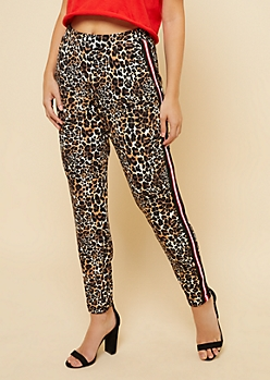 Leopard Print Athletic Tape Striped Rolled Hem Pants